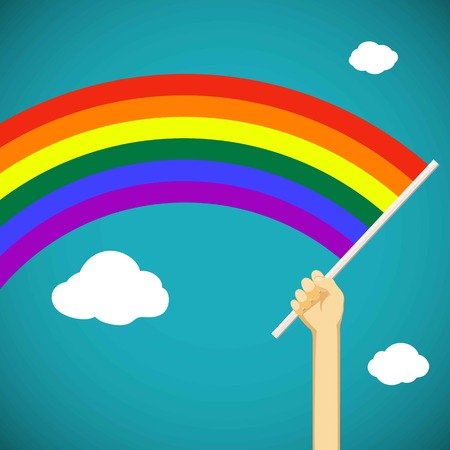 keep in: Man keep in his hand a rainbow flag