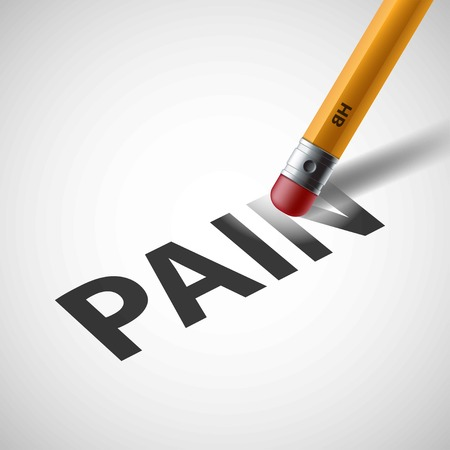 miserable: Pencil erases the word pain. Stock illustration.