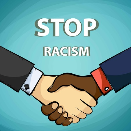 racism: Handshake of the friends. Stop racism. Stock illustration.