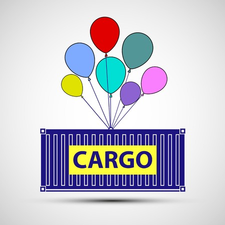 Icon freight container with balloons. Cargo delivery. Stock illustration.