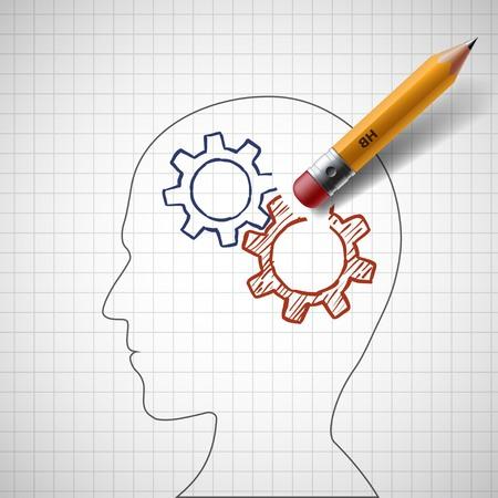 senile: Pencil erases gears in human head. Stock illustration. Illustration