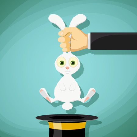 swindler: Illusionist pulls out a rabbit from a hat. Stock Vector cartoon illustration.
