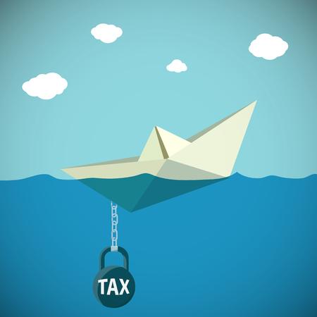 to drown: Barco de papel se hunde en el agua. Kettlebell con el impuesto de inscripción. Vector ilustración stock. Vectores