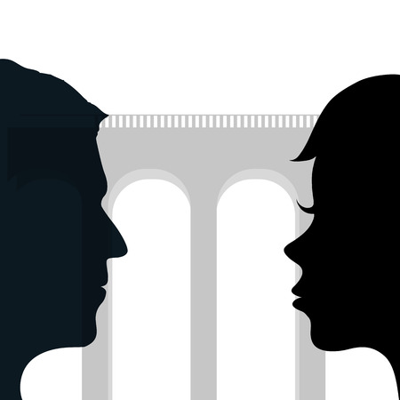 inteligible: Relationship between a man and a woman. Silhouette of a human head. Stock vector illustration. Vectores