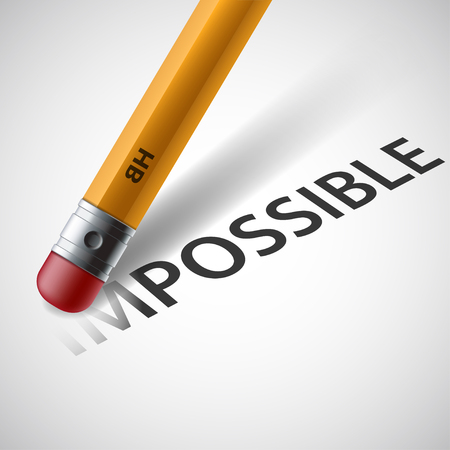 beliefs: Pencil erases the word impossible. Stock vector illustration.