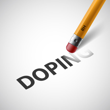 Pencil with a rubber erases the word doping. Stock vector illustration.