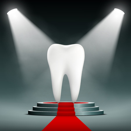 fillings: Human white tooth on the podium with searchlights. Stock vector illustration. Illustration