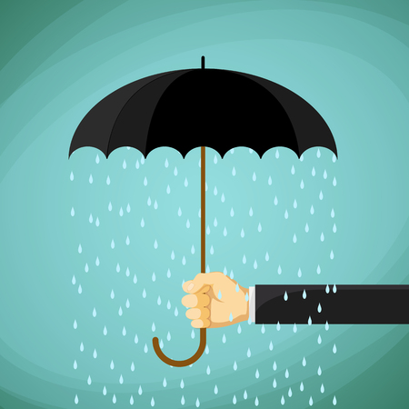 weatherproof: Man holds in his hand an umbrella. Stock Vector cartoon illustration.