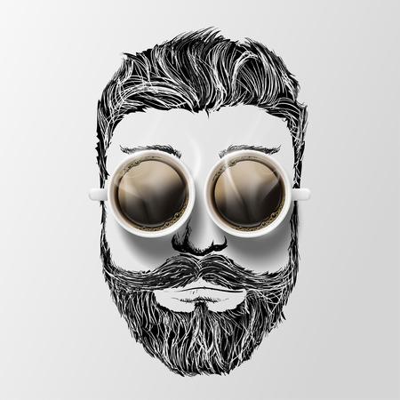 口ひげ、あごひげ、コーヒーを持つ男の頭。流行に敏感なスタイル。株式ベクトル イラスト。