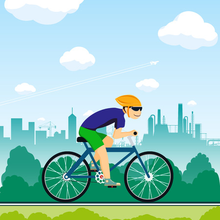 competitions: Man rides a bicycle. Healthy lifestyle. Sport competitions. Stock Vector cartoon illustration.
