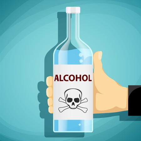 hangover: Human hand holding a bottle of alcohol. Skull and crossbones. Flat graphics. Stock vector illustration.