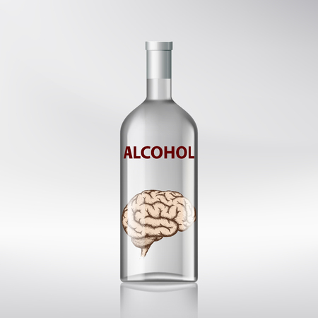 poison: Human brain inside a bottle with alcohol. Stock vector illustration.