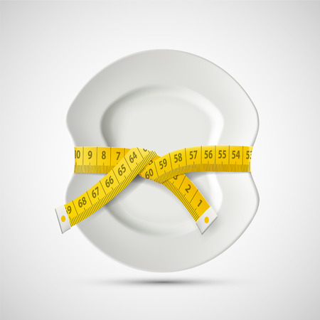 Icon plate with tailoring centimeter. Dieting and weight loss. Stock vector illustration.