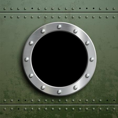 Rond venster patrijspoort op groene metalen achtergrond. Militaire pantser met camouflage. Stock vector illustratie