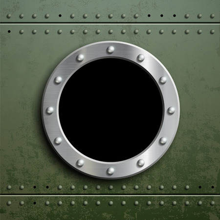 metal plate: Round window porthole on green metal background. Military armor with camouflage. Stock vector illustration Illustration