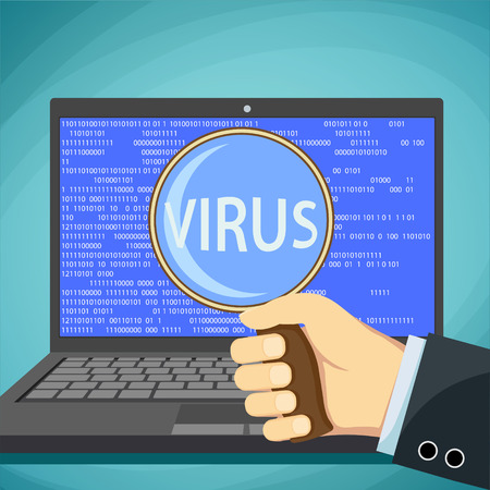 cyber attacks: Word virus on the laptop screen. Protection against cyber attacks. Stock vector illustration. Illustration
