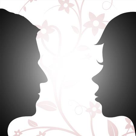 inteligible: Mujer y hombre que miran el uno al otro. Silueta de una cabeza humana. Ilustración vectorial material.