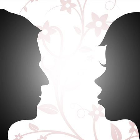 understandable: Woman and man looking at each other. Silhouette of a human head. Stock vector illustration.