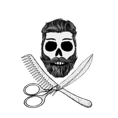 Hipster schedel met haarstijl, baard en snor. Stock vector illustratie.