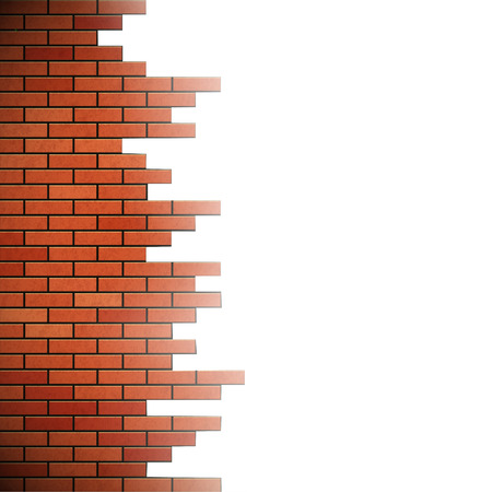 old ruin: Destroyed brick wall. Isolated on white background. Stock vector illustration.