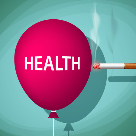 smolder: Cigarette bursts a balloon with the word health. Stock vector illustration.