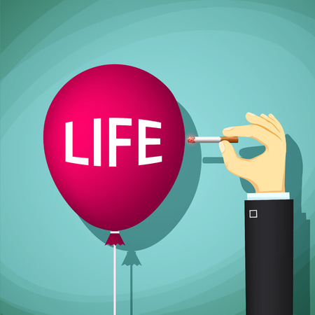 smolder: Human hand with a cigarette bursts a balloon with the word life. Danger of smoking. Stock Vector cartoon illustration. Illustration