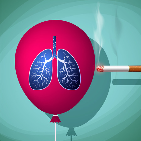 smolder: Man bursts cigarette red balloon with human lungs. Danger of smoking and cancer. Stock Vector cartoon illustration.
