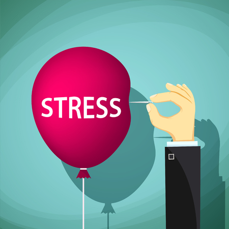 nervousness: Man holds a needle and a red balloon with the word stress. Stock Vector cartoon illustration. Illustration