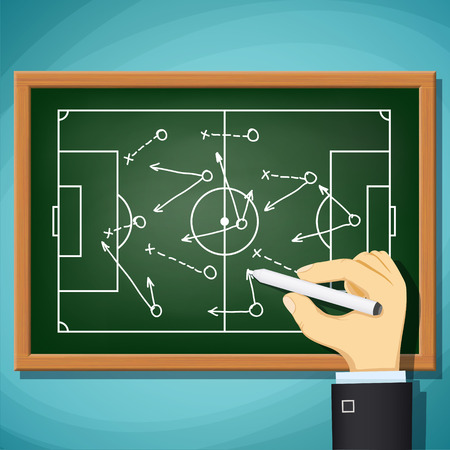 Coach draws tactics play in football. Stock Vector cartoon illustration.