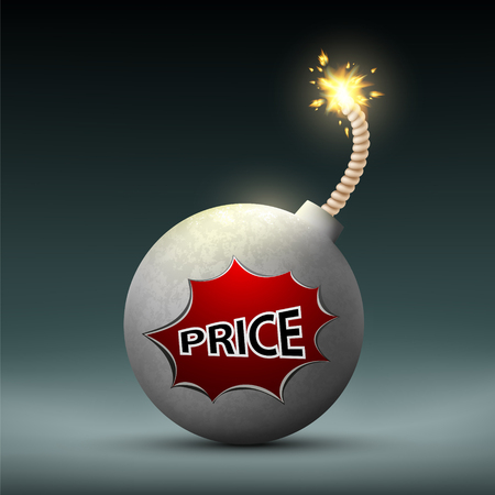 bomb price: Bomb with a wick and word price. Sale and Black Friday. Stock vector illustration.