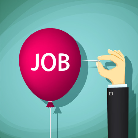 hand job: Human hand with a needle bursts a balloon with the word job. Unemployment and hiring. Stock Vector cartoon illustration.