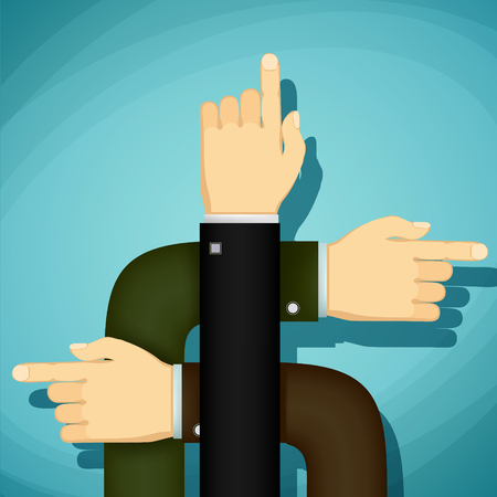 endeavor: Human hands point the finger the direction. Stock Vector cartoon illustration.