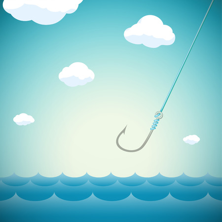 ichthyology: Seascape with fishing hook. Stock Vector cartoon illustration.