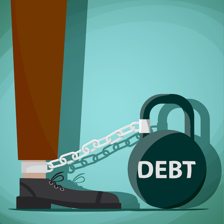 Man chained to kettlebell with the word debt. Stock Vector cartoon illustration. Illustration