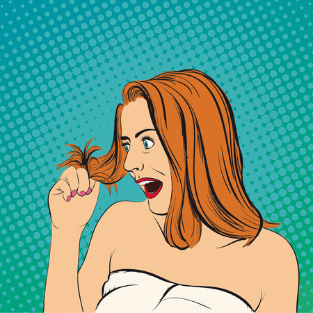 Young woman looks at her hair. Stock vector cartoon pop art illustration.