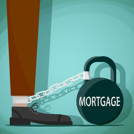 chained: Man chained to the weight with the word mortgage. Stock Vector cartoon illustration. Illustration