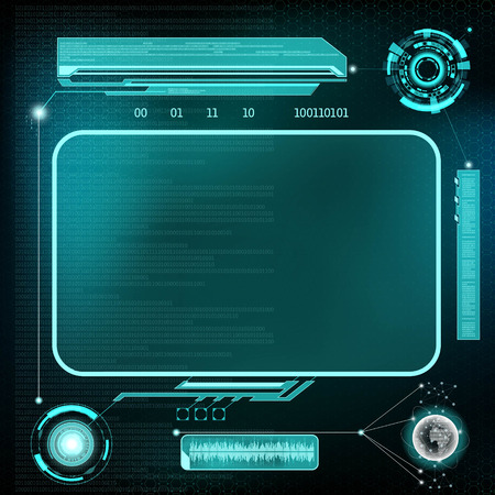 HUD interface. Futuristic dashboard with screen devices. Stock vector illustration. 矢量图像