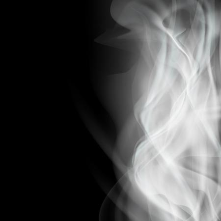 smolder: Background with white smoke isolated on a black background. Stock vector illustration.