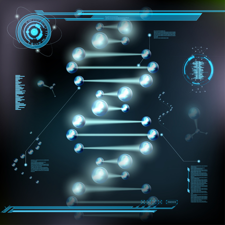 scientific research: Spiral DNA, molecules and atoms under microscope. HUD interface. Scientific research background. Stock vector illustration.