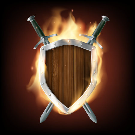 rivets: Icon coat of arms, a wooden shield with swords on fire. Stock vector illustration.