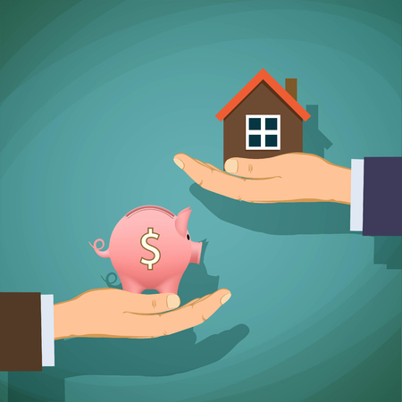 buying: Deal with the real estate. Two men are holding a piggy bank and house. Stock vector illustration.