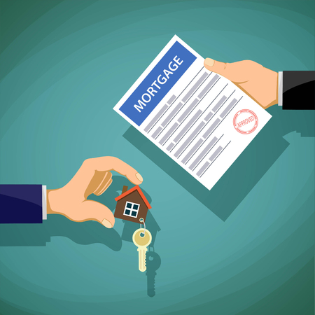 Deal with the real estate. Two people hold the key and the document on the mortgage. Stock vector illustration. 일러스트