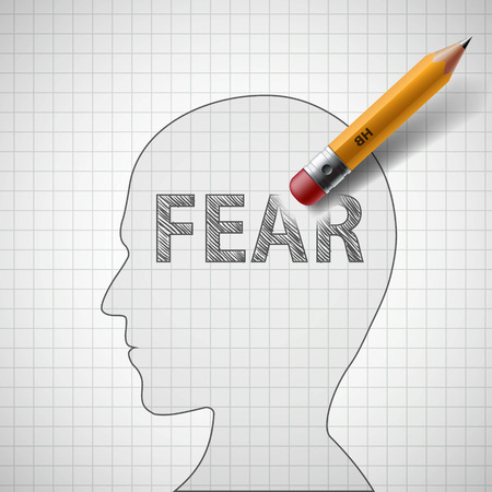 Pencil erases the word fear in the human head. Stock vector illustration.