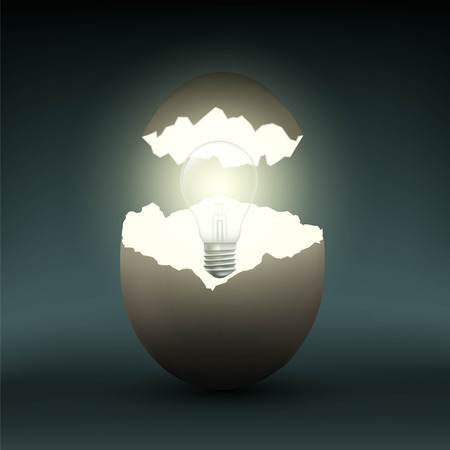 Electric light bulb in a chicken egg. Stock vector illustration.