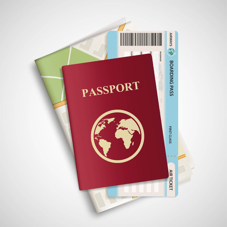 airplane travel: Passport with airplane ticket and map. Travel concept background. Stock vector realistic illustration.