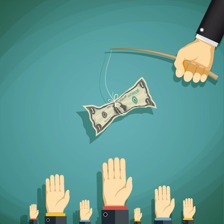 Human hand holding a fishing rod with the dollar and teasing people. Stock vector illustration.