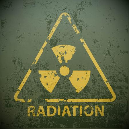 Yellow warning sign for radioactivity. Stock vector illustration. Illustration