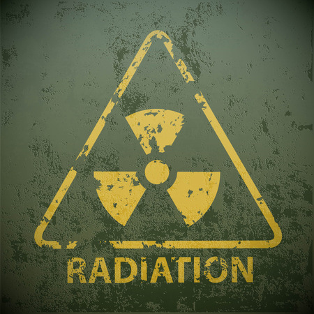 radioisotope: Yellow warning sign for radioactivity. Stock vector illustration. Illustration