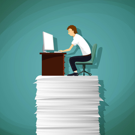 workday: Man sitting at the workplace on a pile of paper. Stock vector illustration.