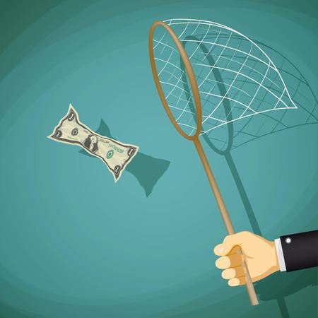 L'homme attrape avec net un billet d'un dollar. Illustration vectorielle stock